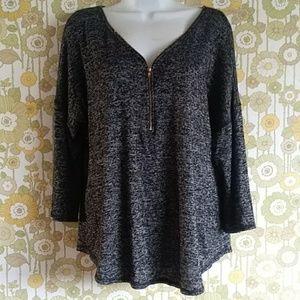 Women zipper blouse top Size XL